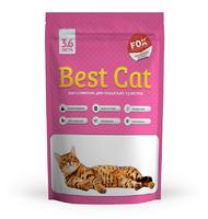Силикагелевый наполнитель Best Cat Pink Flowers для кошачьего туалета с запахом цветов 3,6 л