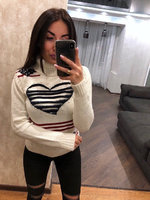 Красивый турецкий свитер Сердце белый (42-46)