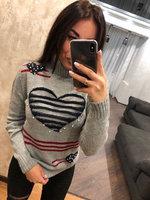 Полушерстяной турецкий свитер Сердце серый