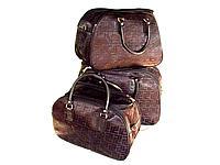 Дорожные комплекты сумки-саквояжи 3-ки (черный-принт)