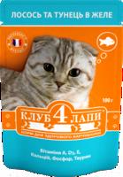 Клуб 4 лапы (Консервированный корм для взрослых кошек - Пауч) Лосось и тунец в желе