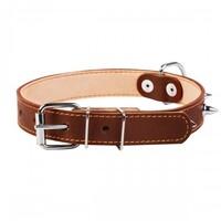 Ошейник двойной с шипами Collar для собак 25 мм, 38-50 см, коричневый