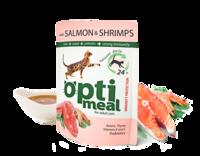 OptiMeal (Консервированный корм для взрослых кошек - Пауч) с лососем и креветками в соусе